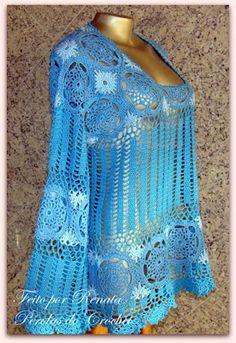 * Pérolas do Crochet: Blusa de crochet Modelo Zang