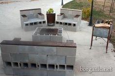 idea, yard, chairs, outdoor, cement patio furniture, cement block, block patio, cinder block, garden