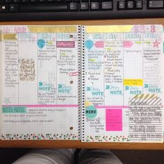 #DIY Planner made from graph paper notebook from Staples plus lots of scrapbook goodies.