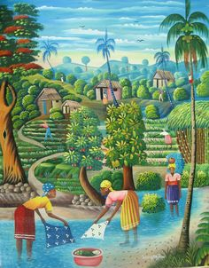 Haitian art - Women Washing by the Stream