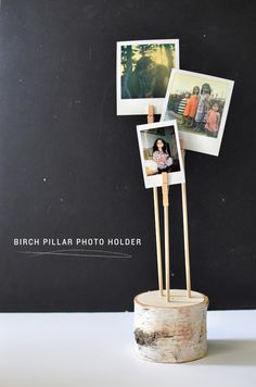 DIY birch pillar photo holder from mycakies.com
