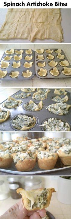 Spinach Artichoke Bites- make w/ crescent roll dough!. #recipes #appetizers