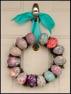 holiday, silk, front doors, craft idea, egg cartons, easter wreaths, easter eggs, diy, egg wreath