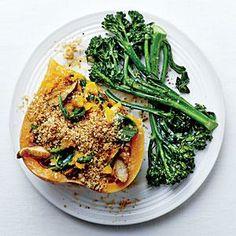 Shiitake-Stuffed Butternut with Quinoa Streusel | MyRecipes.com #myplate #vegetables #wholegrain