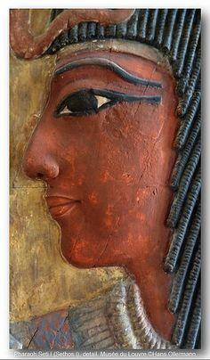 Pharaoh Seti I with Hathor, detail, Louvre.