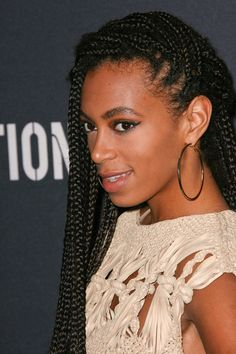Solange Knowles long, braided hairstyle