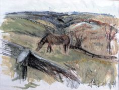 Broodmares - mixed media on paper