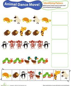 Worksheets: Identifying Patterns: Animal Dance Moves