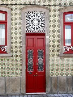 Beautiful red door with white medallion ~