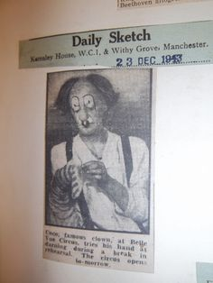 Newspaper cutting showing the clown entertainment at Belle Vue- Very scary!!
