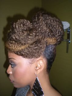 Fabulous and Simple. Use Marley Kinky/Bulky Braid Hair, twist around and about and pin to your individual style.