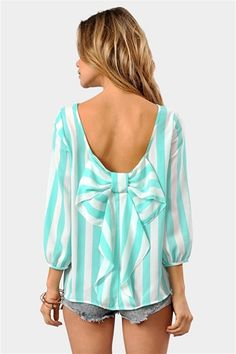 chevron bow shirt, aqua clothing, shirts with bows, cute tops with jeans, waldorf bow