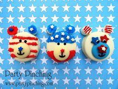 4th of july cookie, patriotic cookie, 4th of july dessert, 4th of july party, oreo, bear cookie, patriotic bear cookie