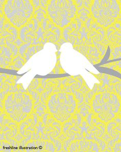 Birds on Branches in Yellow, White and Gray 8x10 Art Print. $18,95, via Etsy.