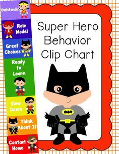Behavior Clip Chart - Behavior Management - Super Heroes, $