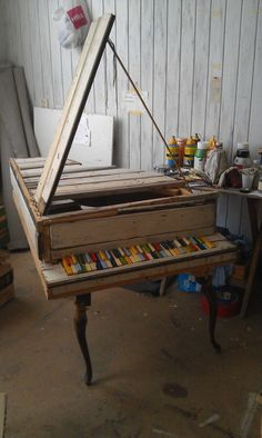 craft, homemad piano, art, musical instruments, piano keys, design blogs, painted pianos, rustic wood, thing