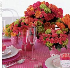 Pink and orange wedding centerpieces #wedding #reception