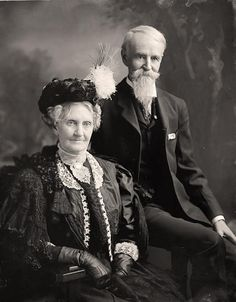 Portrait of a well dressed older couple from the 1900's