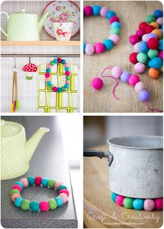 Wool bead trivets / Grytunderlägg av ullpärlor - Craft & Creativity