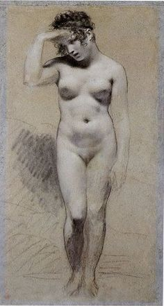 Pierre-Paul Prud'hon Black and white chalk on blue paper