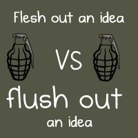 Flesh out an idea VS flush out an idea - The Oatmeal