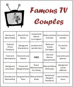 bridal shower games | ... ED Wedding Shower Games? Check out our Famous TV Couples Bingo Game