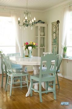 Shabby Chic dining in turquoise. I love the miss-matched chairs!