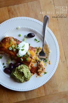 Chicken, Corn, and Bell Pepper Enchiladas