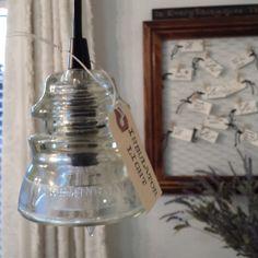 Clear Vintage Insulator Pendant Light beauti light, insul pendant, kitchen sinks, pendant lights, kitchen stuff