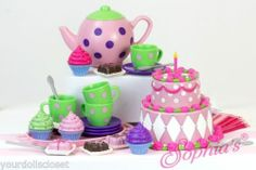 25 Pc Tea Party Foods Fits American Girl Snack Cart Concession Stand Kitchen doll food, keepsake boxes, doll cloth, tea parti, girl doll, tea party foods, parti set, dessert, american girls