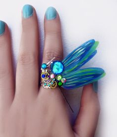 'New beginnings' Steampunk dragonfly ring