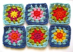 Summer garden granny square #crochet