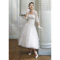Vintage tea length wedding dress.