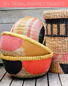 DIY HOME INSPO   Painted Baskets