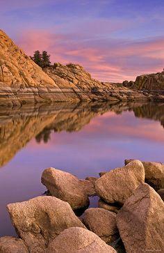 Willow Lake, Prescott, Arizona at sunset.