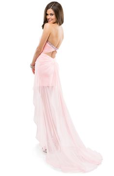 Hot, cold. Yes, no. In, out. Up, down. High, low. Opposite lengths attract in this ultra-hot prom dress with a jeweled keyhole neckline. #pink #promdress #flirtprom