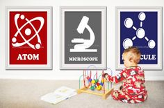 science themed boy room   Science Art for nursery Boys rooms Atom by ARTingredients on Etsy, $48 ...