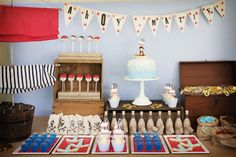 A pirate inspired dessert table.