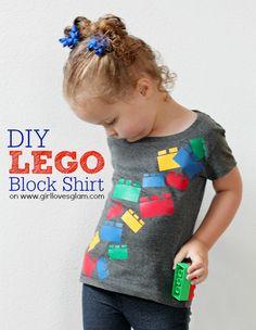 DIY Falling Lego Block Shirt on www.girllovesglam.com