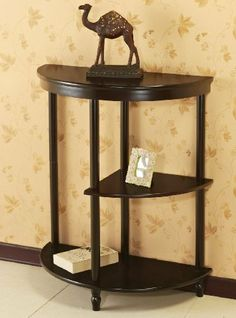 Frenchi Furniture Cherry 3-Tier Crescent ,Half Moon ,Hall / Console Table/End Table by Frenchi Furniture. $44.95. Works well as a side table or accent table. Three (3) tiered shelves for decorative items. Turned legs. Excellent as a side table or accent table, this piece brings a touch of traditional style to any setting. The three tiered shelves provide plenty of space for displaying favorite decorative items. This accent table is finished in rich espresso, and...