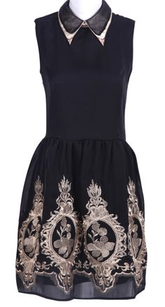 Black Lapel Embroidery Dress.