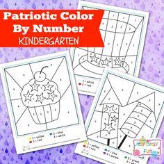 4th of July Color By Number Kindergarten Worksheets