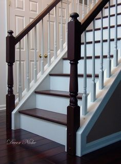 darker banister and stain & paint treads