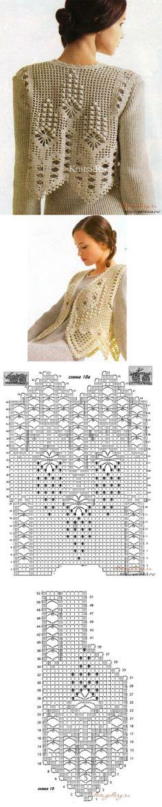 Жилеты вязанные филейной вязкой