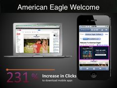 Device targeted Welcome email from American Eagle Outfitters. When opened on a smartphone, a hero banner appears at the top of the message promoting mobile app downloads.