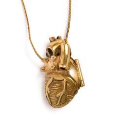 Gold Plate White Brass Anatomical Heart Locket