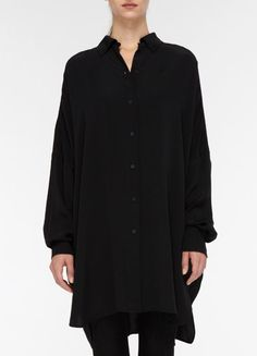 Black oversized silk shirt