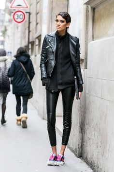 Leather pants, jacket + sneakers | Street Style Paris Couture Week Spring 2014 - Street Style Photos Paris Couture Week - ELLE