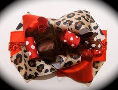 Red and Cheetah Print Hair Bow