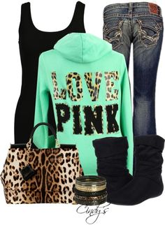 """Victoria's Secret Love PINK Leopard Zip Hoodie Sweatshirt"" by cindycook10 on Polyvore"